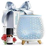 SALKING Aroma Diffuser mit Rosen Ätherische Öle, BPA-Free Aromatherapie Diffusor mit Einstellbarem Nebelmodus, 23dB Ultra Leise Luftbefeuchter mit 7 Farbe Nachtlichter, Duftlampe für Zuhause Büro Yoga