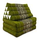 livasia Thaikissen mit 3 Auflagen, Kapok Dreieckskissen, Sitzkissen, Liegematte, Thaimatte (grün/Elefanten)