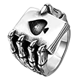 JewelryWe Schmuck Herren-Ring, Edelstahl, Gotik Schädel Klaue Poker Karte, Schwarz Silber - Größe 54