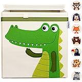 GLÜCKSWOLKE Aufbewahrungsbox Kinder - 10 Motive I Spielzeugkiste mit Deckel für Kinderzimmer I Spielzeug Box Krokodil (33x33x33) zur Aufbewahrung im Kallax Regal I Dschungel Spielkiste (Coco Kroko)