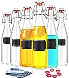 Praknu 6 Glasflaschen mit Bügelverschluss 250 ml - 6 Extra Dichtungen inkl. 12 Etiketten mit Stift