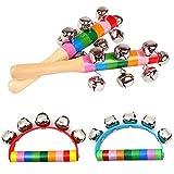 SMUER 4Pcs Rasseln Handglocken Baby Spielzeug Kinder Musikinstrumente Spielzeug Kinder Holz Spielzeug Holz Spielzeug Hand Glocken Mit Glocken