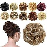 FESHFEN Haargummi-Haarteil, für Haarknoten/Pferdeschwanz, Haarverlängerung gewellt unordentlicher Haarknoten Dutt Hochfrisur, Haarteil, Erdbeerblond & Platinblond