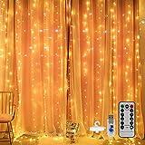 Mitening LED USB Lichtervorhang 3m x 3m, 300 LED Lichterkettenvorhang mit 8 Modi Lichterkette Gardine für Schlafzimmer Partydekoration Innenbeleuchtung Weihnachten Deko Warmweiß, Energieklasse A+++