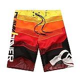 YOUJIA Herren Swim Shorts Casual Strand Surf Kurz Hose Badeshorts Rot L