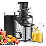 Entsafter für Gemüse und Obst, Easehold 2 Geschwindigkeitsstufen 65mm Einfüllöffnung Saftpresse Juicer elektrisch, BPA-frei, Reinigungsbürste und Saftbehälter