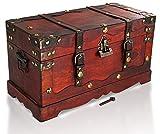 Brynnberg Schatztruhe groß mit Schloss 40x19x22cm Holztruhe Schatzkiste Piraten Schatzsuche Holz Kolonialstil Piratentruhe Geldtruhe