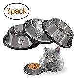 3 STÜCKE Katzennapf Futternapf nicht verschüttet und rutschfeste Fressnapf aus Edelstahl, Schüssel für Katze Kleine Hunde Tiere MEHRWEG