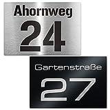 Hausnummer Edelstahl-Schild - Nummer und Straßenname - inkl. Beschriftung - Wandmontage - Maße: 110 x 160 mm (Edelstahl)
