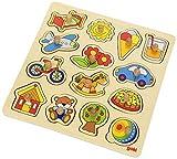 Goki 57576 - Steckpuzzle - Schaukelpferd, Ball