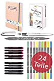 ONLINE Handlettering-Set | 10 Kalligrafie-Stifte Calli.Brush, Schönschreib-Füller, Bullet Journal, Handlettering Heft, bunte Tintenpatronen, Leinenetui | Geschenk-Idee