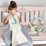 Strickdecke, Babydecke, Niedlich Grau Kuscheldecke Kinder Decke, Kinderwagen im Freien Kinderdecke Krabbeldecke,105 x 75cm