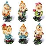 Mini-Gartenzwerge-Set von Juvale (6 Stück) – Mini-Zwerge bei der Arbeit als Dekoration im Garten oder Haus, als Mitbringsel oder Geschenk - 4,3 cm x 10,2 cm x 4,1 cm