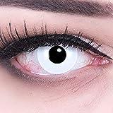 Farbige weiße Crazy Fun Kontaktlinsen'White Out' 'Zombie' mit gratis Linsenbehälter Topqualität zu Fasching, Karneval und Halloween ohne Stärke