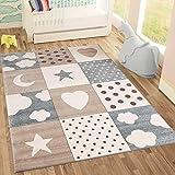Kinderteppiche Patchwork Herz Sterne Wolke | Kinderteppich für Mädchen und Jungs | Teppich für Kinderzimmer | Farbe: Blau, Grau & Rosa | Schadstofffrei Kinderzimmerteppich