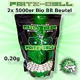 WEILAX 2 x Airsoft Softair Kugeln Fritz-Cell Premium Bio BBS 6 mm 0,20g Beutel 5000 Stück biologisch abbaubar