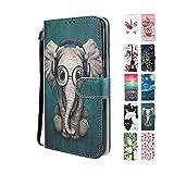 UCool für Samsung Galaxy A10 Hülle PU Leder Flip Klappbar Lederhülle Schutzhülle 3D Grün + Elefant Bunt Muster Wallet Cover Flip Case Handyhülle mit Kartenfach Tasche Etui