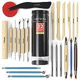 Arteza Töpferwerkzeug-Set, 22 Modellierwerkzeuge, doppelseitige Ton-Werkzeuge, Keramik-Werkzeug in PET-Dose, für Ton, Keramik und Kunsthandwerk
