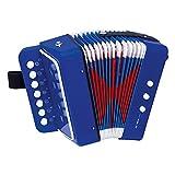 Bino & Mertens 86584 Akkordeon, blau. Ein Spielzeug für Anfänger oder Alle, die sich in jungen Jahren zu der Musik hingezogen fühlen. Mit 10 kleinen Tasten für kleine Kinderhände.Größe 18,5x10x20 cm