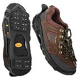 MoKo Steigeisen, Outdoor Schuhspikes Schuhkrallen rutschfest Schnee Grip mit 24 Spikes für Gehen, Wandern, Joggen, Trekking und Bergsteigen, S - Schwarz