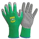 GRÜNTEK 5 Paar Frauen Gartenhandschuhe M mit LATEX-Beschichtung, geeignet für den privaten und gewerblichen Gebrauch (M/8) Garten Arbeitshandschuhe