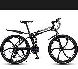 W&HH 26' Mountain Fahrrad mit Federung faltbares Fahrrad-Gabel Mountainbike mit Scheibenbremse, leichte Aluminiumrahmen,Schwarz,24 Stage Shift