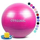 arteesol Gymnastikball 45cm/55cm/65cm/75cm Yoga Ball Auti Burst Core Gymnastikball mit Schnellpumpe für Pilates Training Fitness Geburt Schwangerschaft (Rosa, 65cm)