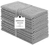 Baumwolle-Klinik 12er-Set Stoffservietten, 100% Baumwolle Servietten Weich Gemütlich Maschinenwaschbar - 50x50 cm Grau
