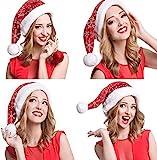 LessMo 4 Stück Weihnachtsmütze, Nikolausmütze mit Schneeflockenmuster, Weihnachtsmann Mütze Rot Weihnachtsfeier Comfort Cap Neujahr Festliche Holiday Party Supplies (1)