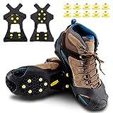 ORLEGOL Steigeisen für Bergschuhe, Schuhkrallen, Eisspikes, Anti Rutsch Schuhspikes Eiskrallen mit 10 Spikes, Ice Klampen Schnee Spikes für Klettern Bergsteigen Trekking High Altitude Winter Outdoor