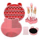 Xinzistar 2 Stück Pinselreiniger 2 in 1 Silikon Kosmetik Make Up Pinsel Reinigung Mat Bürste Reinigungsmittel Zubehör für Schnelle Farbenwechsel (Rosa)