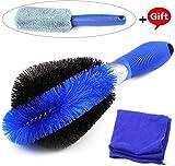 Fixget Premium Felgenbürste, 3 in 1 Waschbürste mit Mikrofasertuch, Felgen Saubere, Optimale Felgenreinigung für Stahlfelgen, Alufelgen, Chromfelgen, Schonenden und Effektiven Reinigung (Blue)