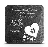 TULLUN Individueller Personalisiert Tiergrabstein Schiefer Gedenkstein für Hund, Katze und andere Haustiere - Größe 10 x 10 cm - Pfotenabdruck auf Herz