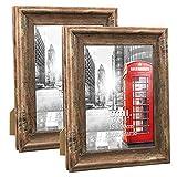 Umi.Essentials 2 Stück Rustikaler Bilderrahmen 15x20 cm mit Holzmaserung in Landhausstil