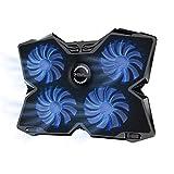 Tkoofn Laptop Kühler Cooling Pad (bis zu 17 Zoll), Ultra Leise Notebook Cooler Ständer Kühlpad Kühlmatte mit 4 Lüfter Ventilatoren + 2 USB-Anschlüssen + Einstellbare Lüftergeschwindigkeit
