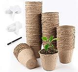Homewit 80 x Anzuchttöpfe Aussaattöpfe Torftöpfe, Ø8cm Biologisch abbaubar - Beige, Mit 100 Stück Pflanzenetiketten aus Weiß Kunststoff für Pflanzen, Pflanztöpfe, Zellulose