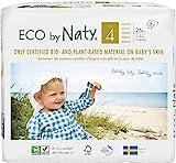 Eco by Naty, Größe 4, 156 Windeln, 7–18kg, MONATSVORRAT, pflanzliche Premium-Bio‑Windeln mit 0% Plastik auf der Haut