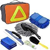 SaponinTree Professionelles Auto Reinigungs Set 7 PCS, Autowaschset Mikrofasertücher Staubbürste Felgenbürste Wasserabzieher zur Effektiven Reinigung Autopflege