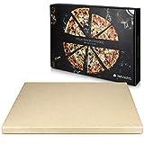 Navaris Pizzastein XL für Backofen Grill aus Cordierit - Pizza Stein Ofen Brot Backen Flammkuchen - Gasgrill Holz-Kohle Herd Teller rechteckig 38x30cm