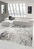 Designer Teppich Moderner Teppich Wollteppich Meliert Wohnzimmerteppich Wollteppich Ornament Grau Cream Taupe Größe 200 x 290 cm