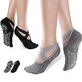 Rutschfeste Yoga Socken für Damen, für Yoga Pilates Ballett Tanzen und Fitness Sport, 2-er Pack Doppelpack