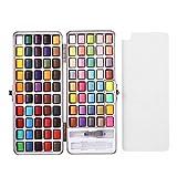 Aquarell-Farbset, 50/72 / 90Color Portable Pearlescent Iridescent Solid Watercolor Pigment Paint Set 90 Farben