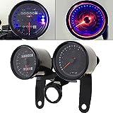 CHUDAN Motorrad 12V Tachometer Universal Retro Instrument Led-hintergrundbeleuchtung Digital Drehzahlmesser und Geschwindigkeitsmesser Set Für Kawasaki Yamaha Ducati BMW Honda Suzuki, Schwarz