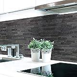 Küchenrückwand Steinwand Dunkel Premium Hart-PVC 0,4 mm selbstklebend 60x51cm