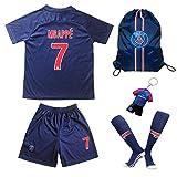 Paris Mbappe Trikot Set #7 Heim 2018/19 Kinder Fussball Trikot Mit Shorts und Socken Kinder (7-8)