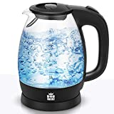 ForMe Wasserkocher 1,7 L I Edelstahl Glas Wasserkessel 2200W I Kalkfilter I Blau LED Teekessel I 360°-Sockel I Abschaltautomatik I Trockengehschutz I BPA frei (107)