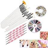 RUIMIO Nail Art Set: bestehend aus 15 Nail Art Pinseln, 12 Farbigen Strasssteine, 5 Punktierung Kugelschreiber, Gold und Silber Nagelschmuck / Applikationen