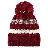 TIREOW Mädchen Frauen Winter Acryl Beanie Strickmütze Mütze Bommel Mode Ski Mütze Wollmütze zum Skifahren Skaten (Rot)