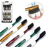 AOLEVA 5er Pack Handzahnbürste Ultra Soft Mittel 4 Farben Zahnbürste für Familie (5 X 1 Stück) mit Soft Schwarz Borsten