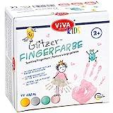 Viva Decor®️ Kids Glitzer-Fingerfarben 4 Farben im Set (Gold, Silber, Rosa, Mint 4 x 100 ml) Fingerfarben Kinder ungiftig Fingerfarbe für Kindergarten, Schule, Therapie und zu Hause